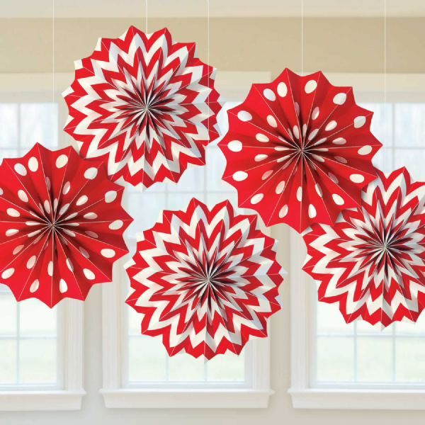 Apple Red Dots & Chevron Paper Fans (5)